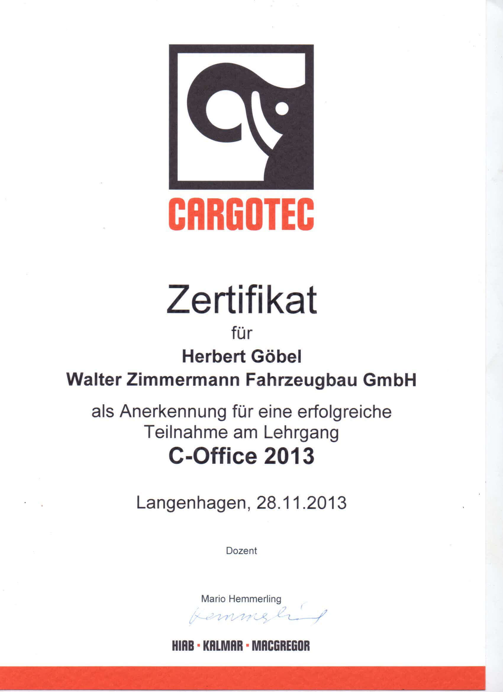 Zertifikat C-Office Göbel