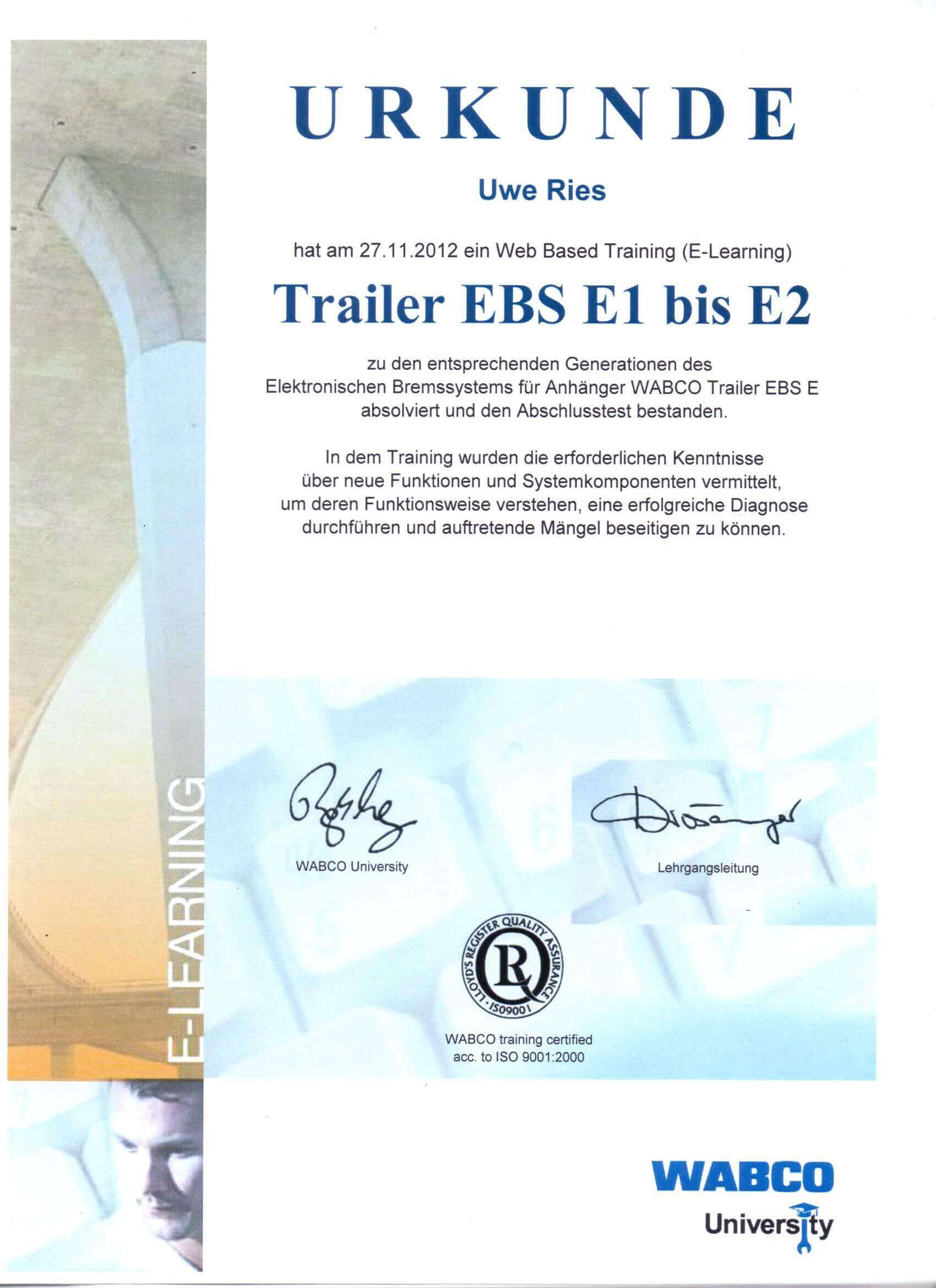 Zertifikat Diagnose Trailer EBS E1 bis E2