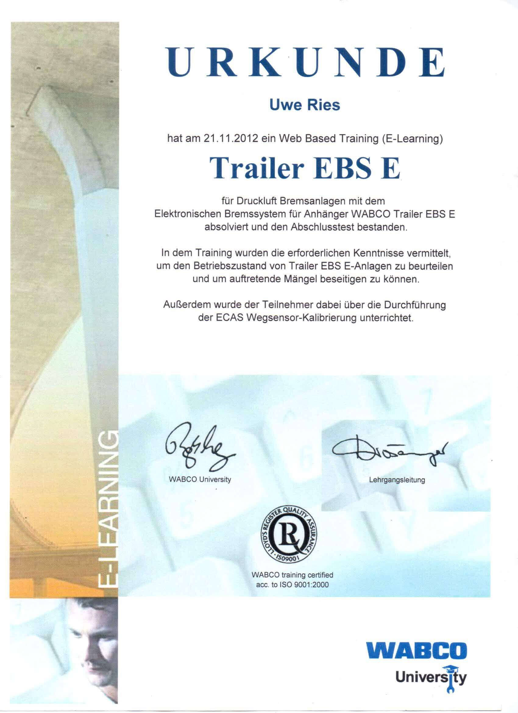 Zertifikat Diagnose Trailer EBS E